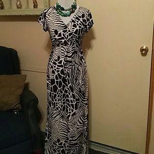Black and white animal print maxi dress